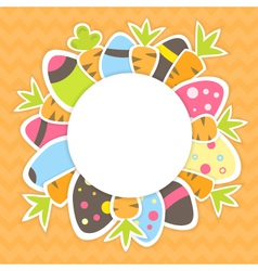 Easter carrots and eggs pattern on a orange vector image
