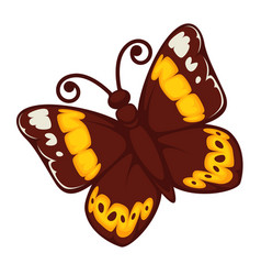 Exotic butterfly with bright yellow print on wings vector