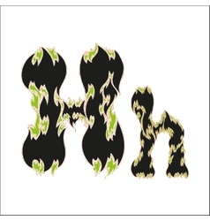 Fiery font black and green letter h on white vector