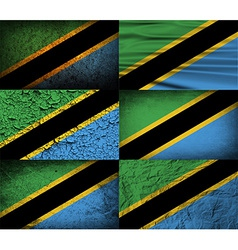 Flag of tanzania with old texture vector