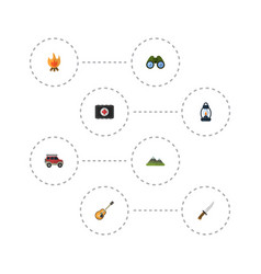 Flat icons fist aid music fire and other vector