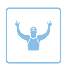 Football fan with hands up icon vector