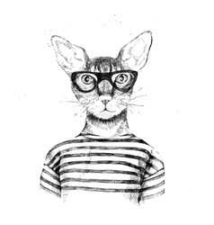 Hand drawn dressed up hipster cat vector