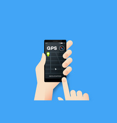 Hand holding smartphone with conceptual gps vector