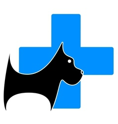Icon with dog and blue medical cross vector