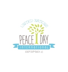 International september peace day label design in vector