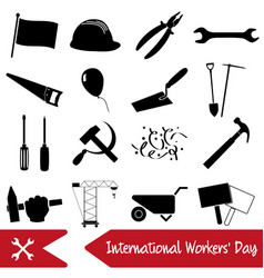 international worker day or labor day theme icons vector image