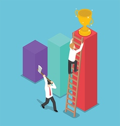 Isometric design businessman destroy the ladder of vector