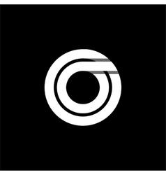 Letter o wide white stripes logo monogram emblem vector