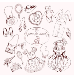 Little girl accessories set doodle sketch vector
