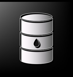 Oil barrel sign gray 3d printed icon on vector