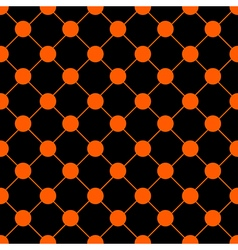 Orange Polka dot Chess Board Grid Black vector image