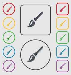 Paint brush artist icon sign symbol on the round vector