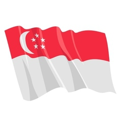 Political waving flag of singapore vector