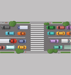 road with cars in front of pedestrian zone vector image vector image
