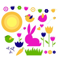 Spring and easter elements set isolated on white vector image