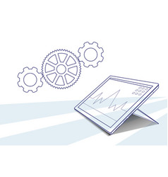 Tablet computer responsive design financial graph vector