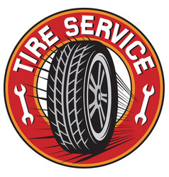 Tire service label vector