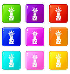 Toy jumping out of box icons 9 set vector