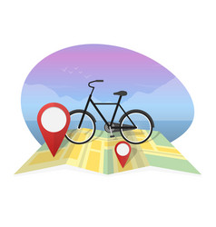 Traveler with bicycle on map background vector