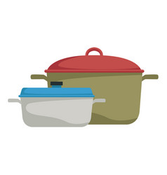 Two saucepans with handle kitchen equipment vector