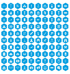 100 museum icons set blue vector