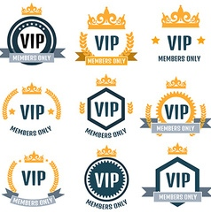 Vip club members only logo set vector