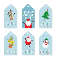 Christmas tag santa claus and friends lettering vector