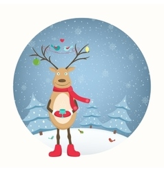 Funny deer character decorated antlers snowfall vector