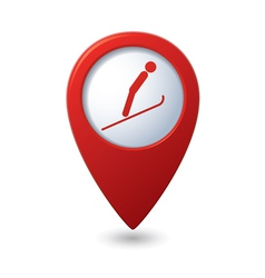 Map pointer with ski springboard icon vector