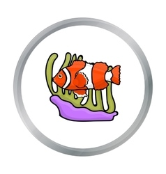 Clownfish and anemone icon in cartoon style vector
