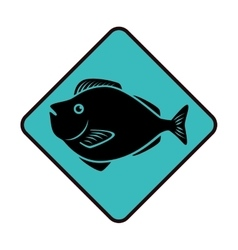 Sea fish emblem icon vector