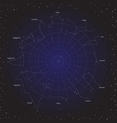 Star horoscope zodiac circle in cosmos background vector