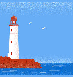 lighthouse seascape horizon vector image