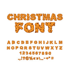 Christmas font alphabet cookie gingerbread vector