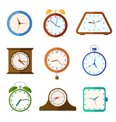 wall clock and alarm clocks time flat vector image