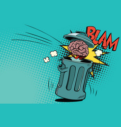 Human brain is thrown in the trash vector