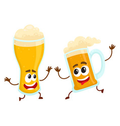 Funny smiling beer glass and mug character friends vector