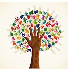 Colorful human hands tree vector