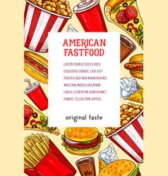 Fast food restaurant meals or snacks poster vector
