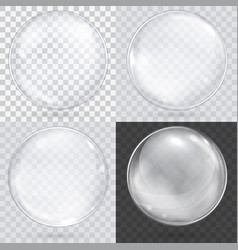 white transparent glass sphere on a checkered vector image