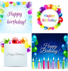 color birthday cards design template balloon vector image