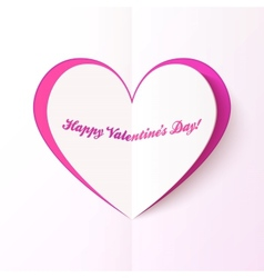 Pink cutout heart Valentines day greeting card vector image
