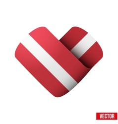 Flag icon in the form of heart I love Latvia vector image