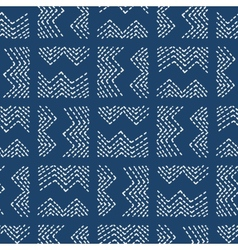 Hand drawn seamless indigo folk pattern vector