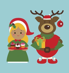 Holiday characters deer and little girl with cakes vector