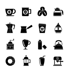 Silhouette different types of coffee industry icon vector image