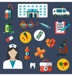 Hospital and medicine flat icons vector