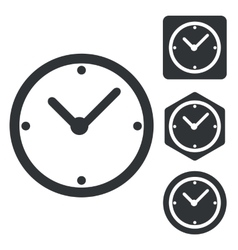 Clock icon set monochrome vector