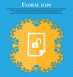 File locked icon sign floral flat design on a blue vector